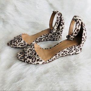 J Crew Women's Leopard Print Ankle Strap Sandals